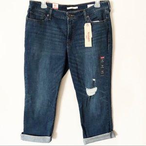 LEVI'S Boyfriend Jeans Cropped Capri Distressed 18